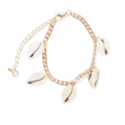 Gold Chain Anklet with Cowrie Shell Drops