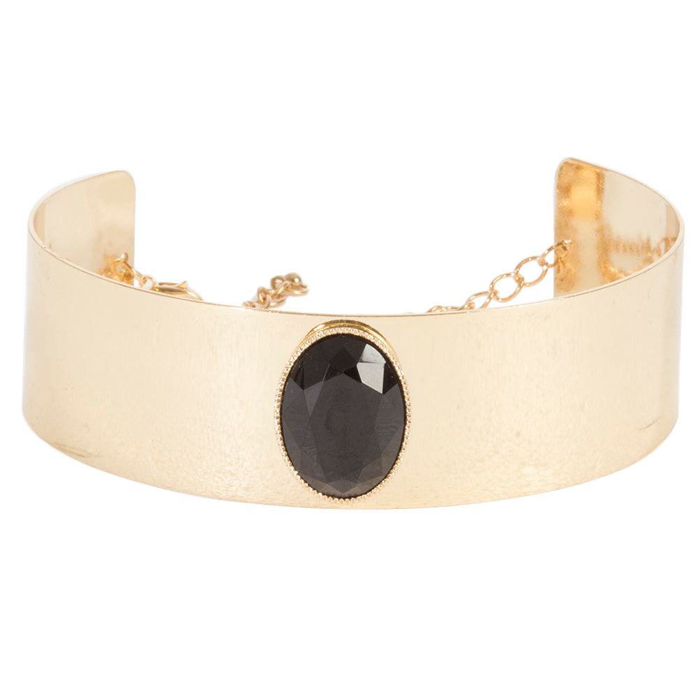 Gold Structured Metal Choker with Black Oval Stone