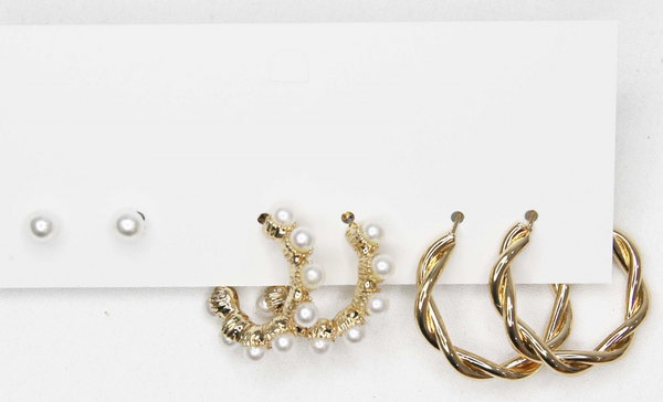 3 Pack Pearl Studs and Hoop Earrings with Twisted Hoop Earring Pack