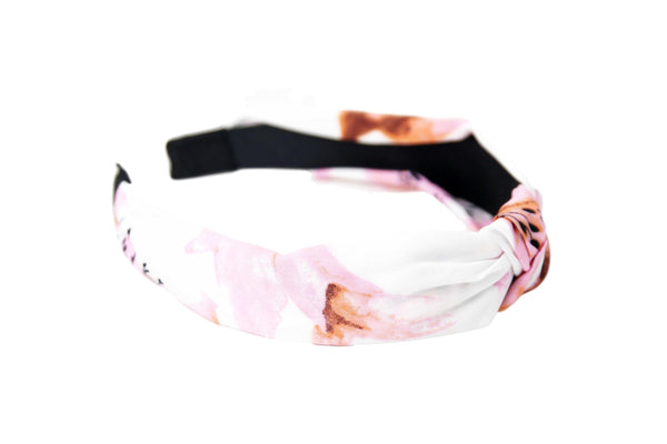 White Floral Print Knotted Headband