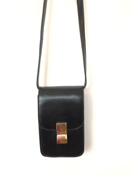Pu Black Rectangle Cross Body Bag With Metal Clasp