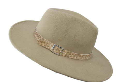 Cream Felt Fedora with woven band