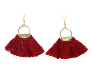 Burgundy Hoop fan tassel earring