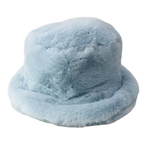 Powder Blue Faux Fur Bucket Hat