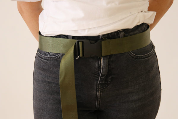 Khaki Seatbelt Style Belt with plastic buckle