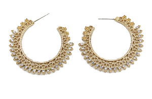 Gold Half Circle Diamante Hoop Earrings