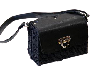 Black Straw Crossbody Bag with PU Strap