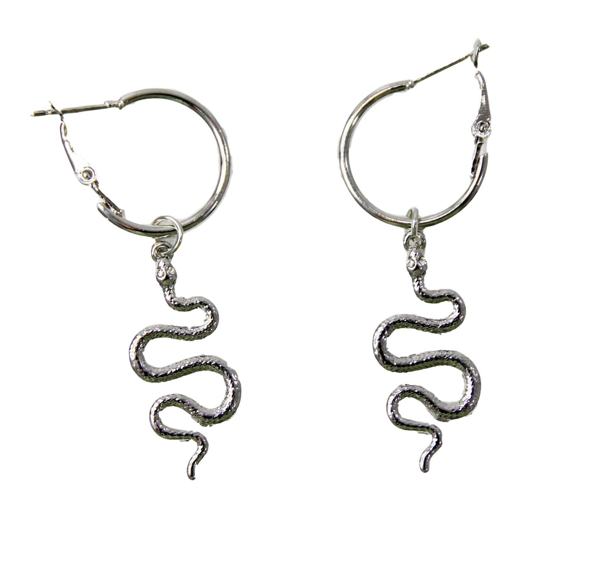 Silver Hoop with Snake drop Earrings