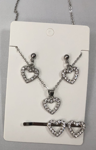 Silver Diamante Heart Jewelry Set