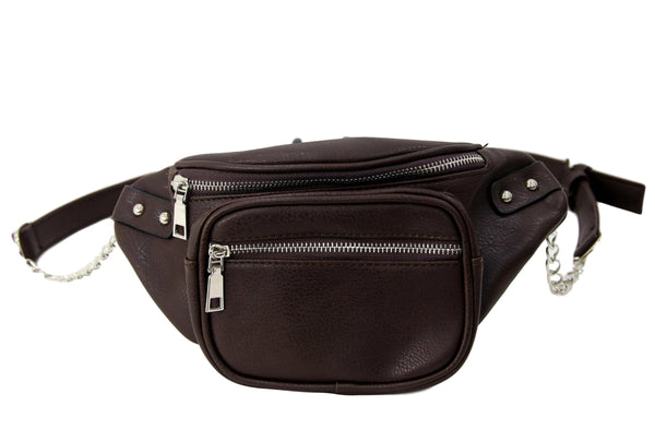 Brown Faux Leather (PU)  Bum Bag with Chain