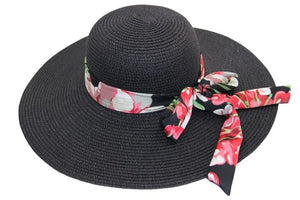 Straw Floppy Hat with Floral Print Tie Bow Band