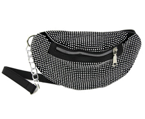 Black Diamante Bum Bag
