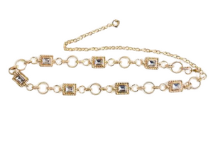 Diamante Square and Circle Belly Chain Belt