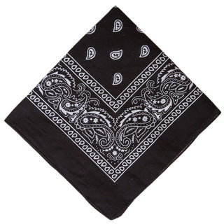 Black Double Sided Paisley Cotton Bandana