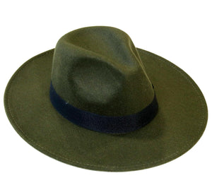 Khaki Fedora Felt Hat With Poly Band