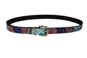 Blue Snake PU Belt With Metal  Bamboo Buckle