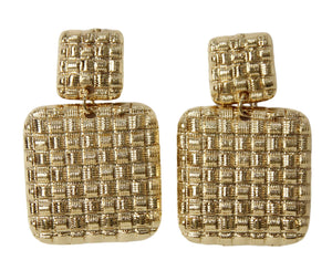 Gold Textured Square Drop Earrings