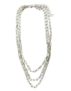Silver 3 Layer Rectangle Link Chain Necklace