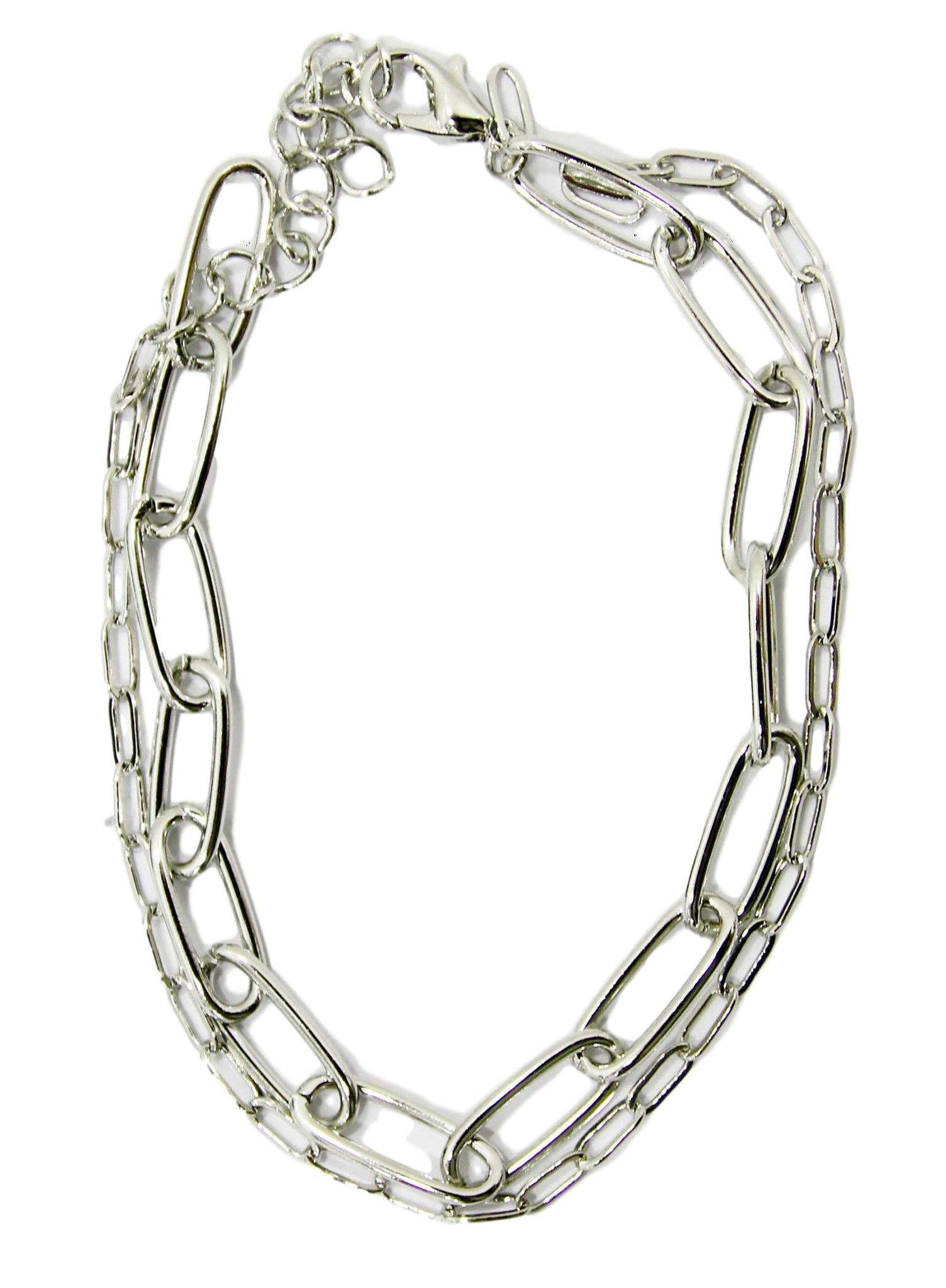 Silver Chain Link 2 Chain Anklet
