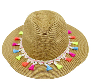 Multi Straw fedora with pom band