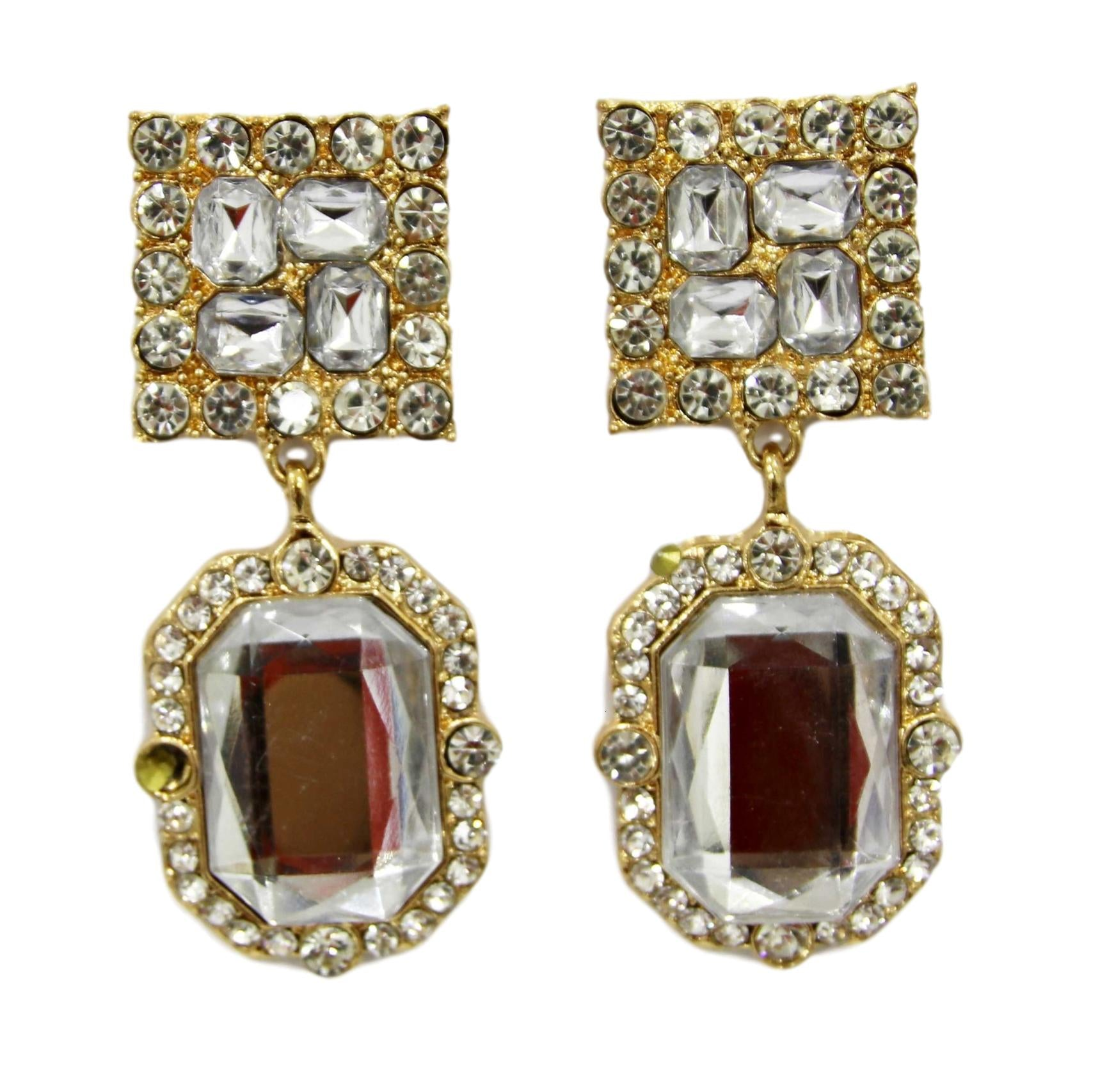 Gold Square Octagon Diamond Earrings