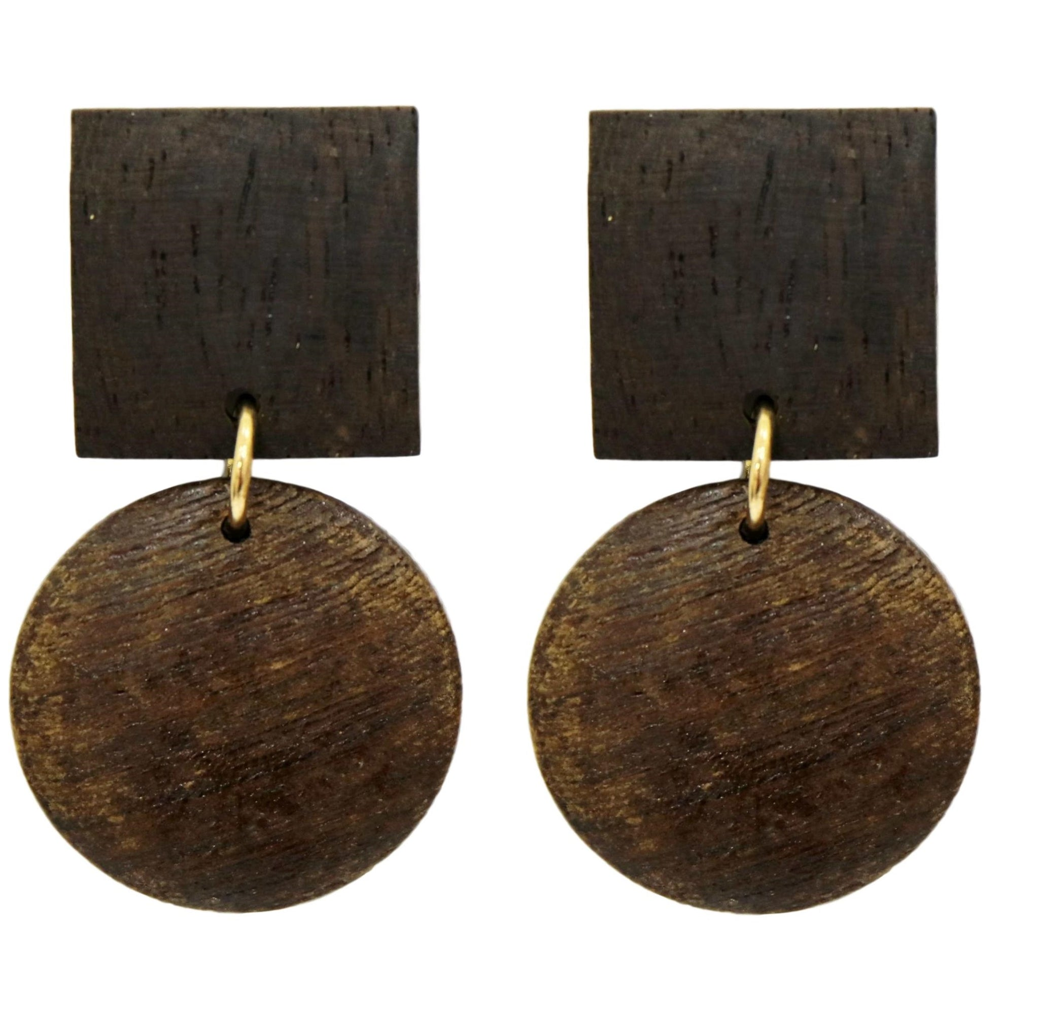 Wooden Circle Square Earrings
