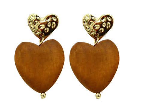 Brown Wooden Heart Earrings
