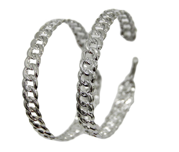 Silver Oversized Chain Hoops