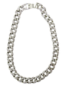 Silver Diamante Chain Link Necklace