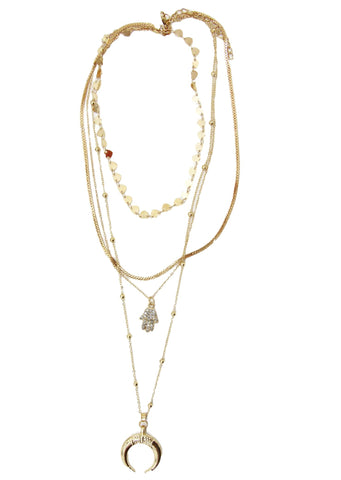 Layered Necklace with hamsa hand and crescent