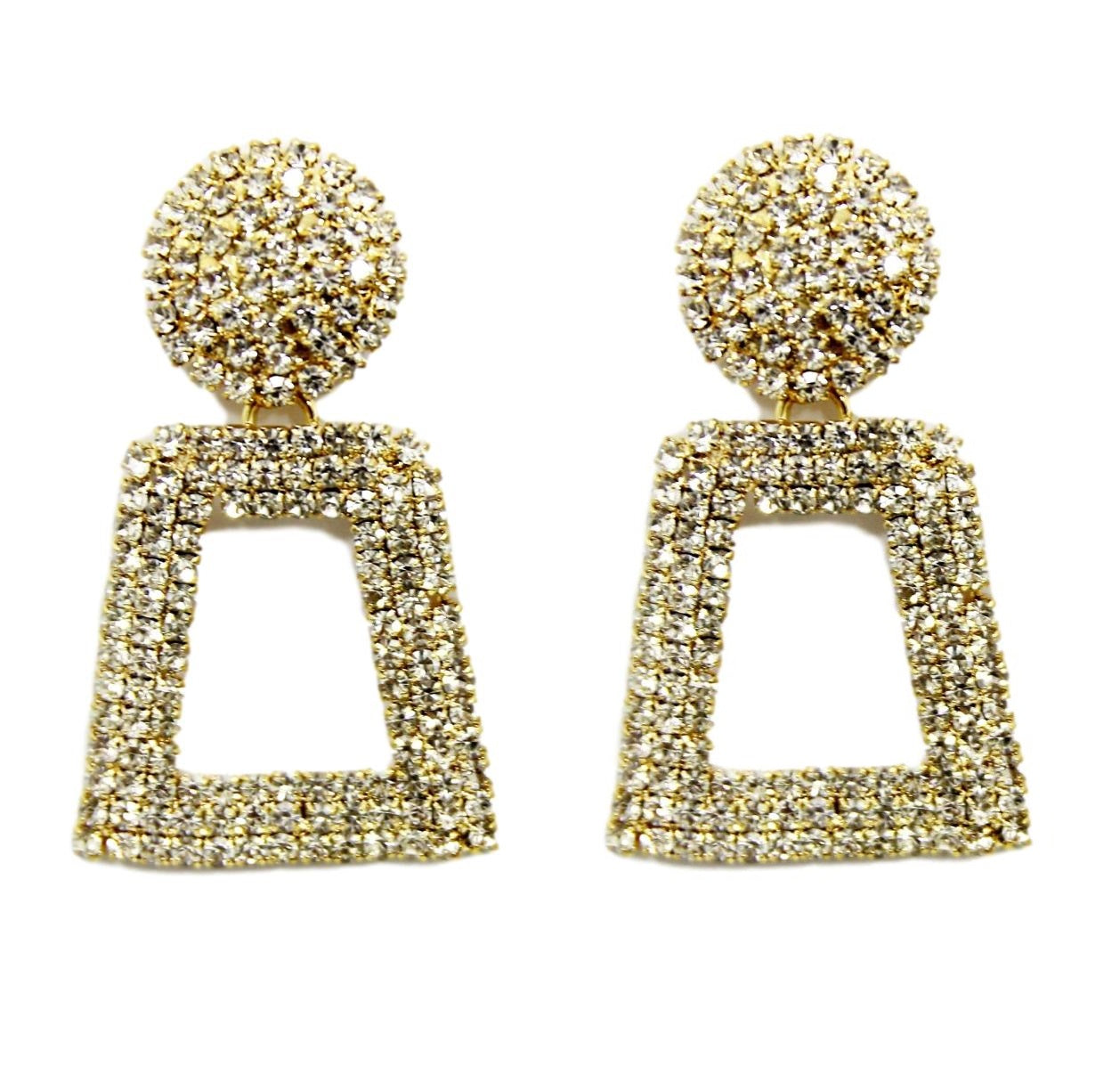 Gold Diamante Rectangle Earrings
