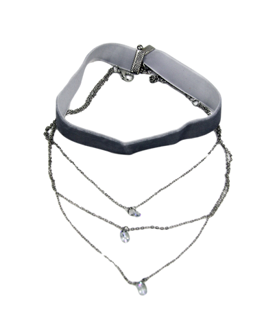 Double Velvet Choker with Chain & Diamante Pendant