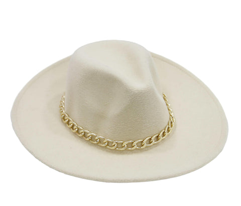 Cream Felt Fedora with Chain Link Band