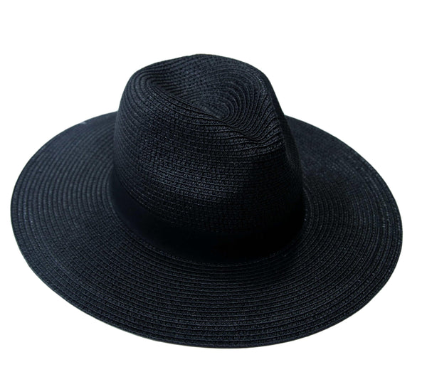 Black Straw Fedora with Tonal Poly Band