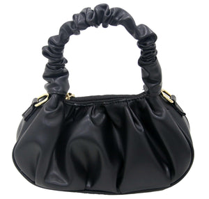 Black Faux Leather Ruched Bag with Ruched Handle and Chain Strap