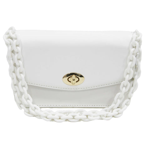 White Faux Leather Bag with Long Chunky Plastic Chain Strap