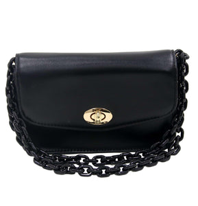 Black Faux Leather Bag with Long Chunky Plastic Chain Strap