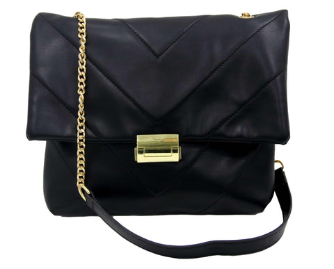 Black Quilted Medium Pu Shopper Bag