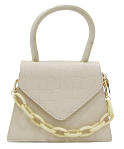 Nude Structured Croc and Plain Fauz Leather Grab Handle Bag with Chunky Chain Detail