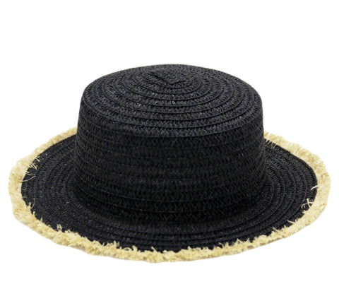Black Frayed Edge Bucket Straw Summer Boater Hat