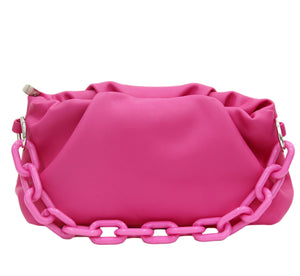 Fuchsia Faux Leather Ruched Bag with Tonal Plastic Chain Detail