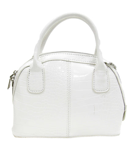 White Croc Croc Bag with Chain Strap