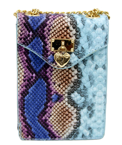 Blue Snake Heart Padlock Snakeskin Bag