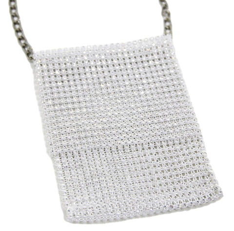 White Diamante Mesh Crossbody Pouch Bag