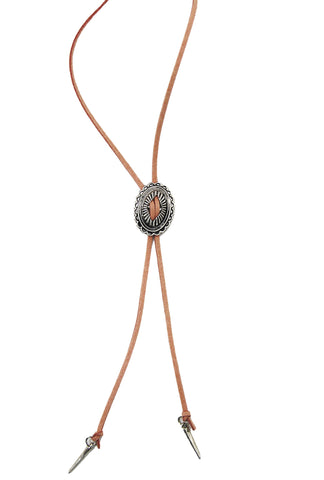 Light Pink Western Style Suedette Bolo Necklace with Metal Detail