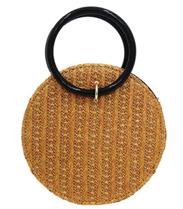 Brown Circle Straw Bag with Ring Handle