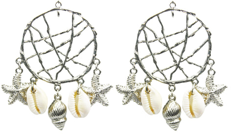 Silver Dreamcatcher Shell Earrings