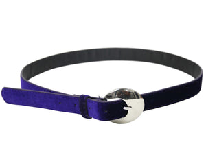 Crescent Buckle Velvet Belt