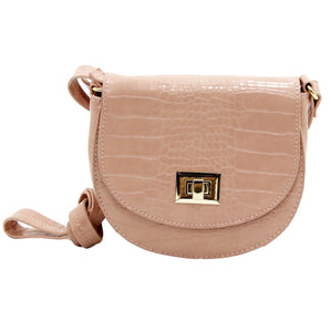 Blush Croc Twist Lock Rounded Cross Body Bag