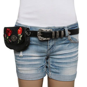 Black Western Rose Belt Bag